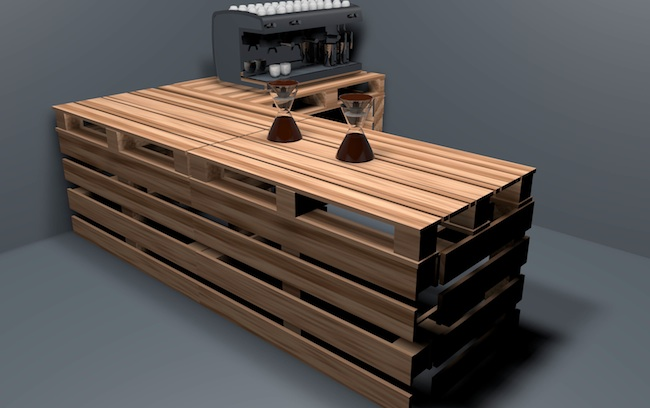 Coffee bar made of pallets, in C4D 3D design