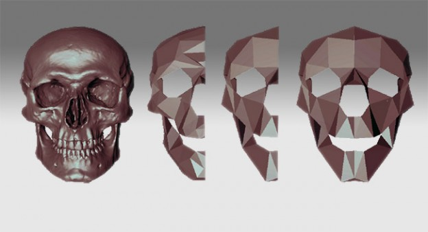 progression of CT scan of skull to a symetrical lo-poly model to be flattened in Blender
