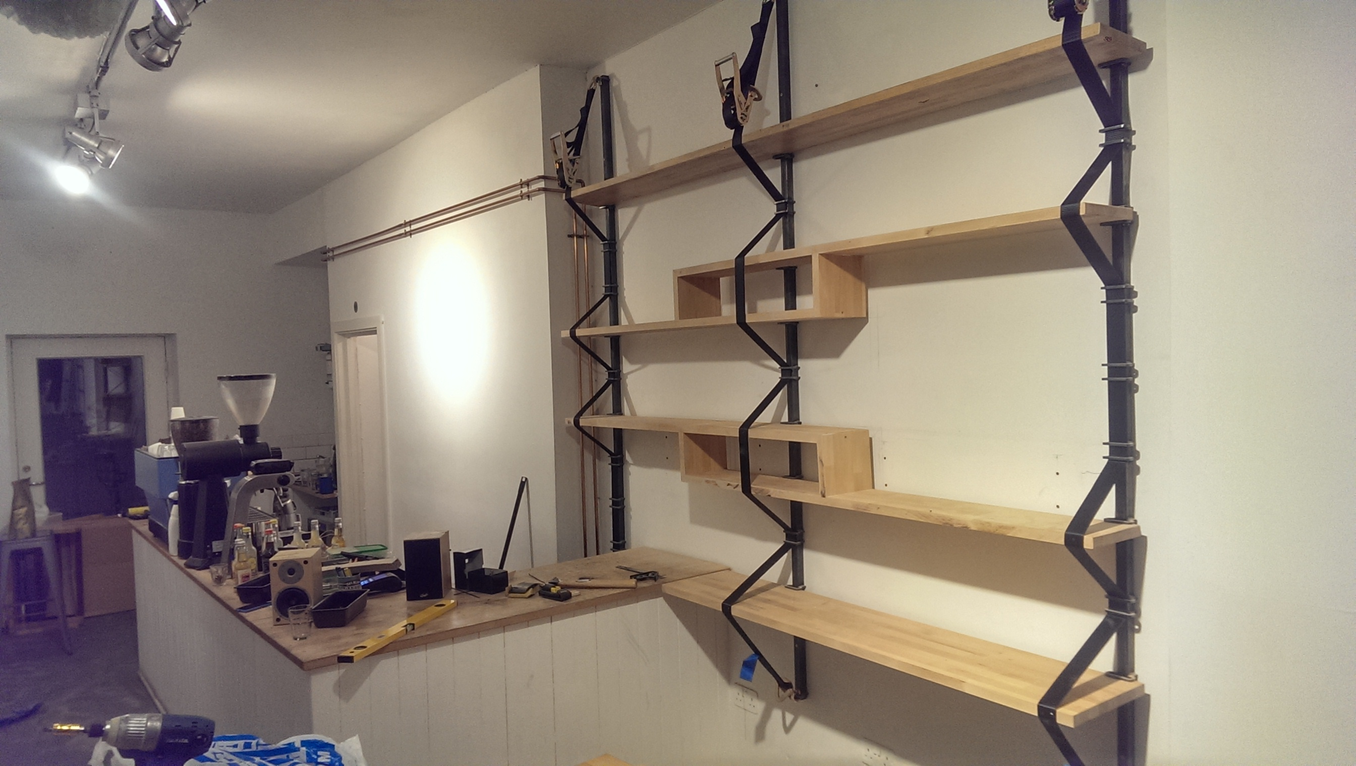 The shelves finally up.
