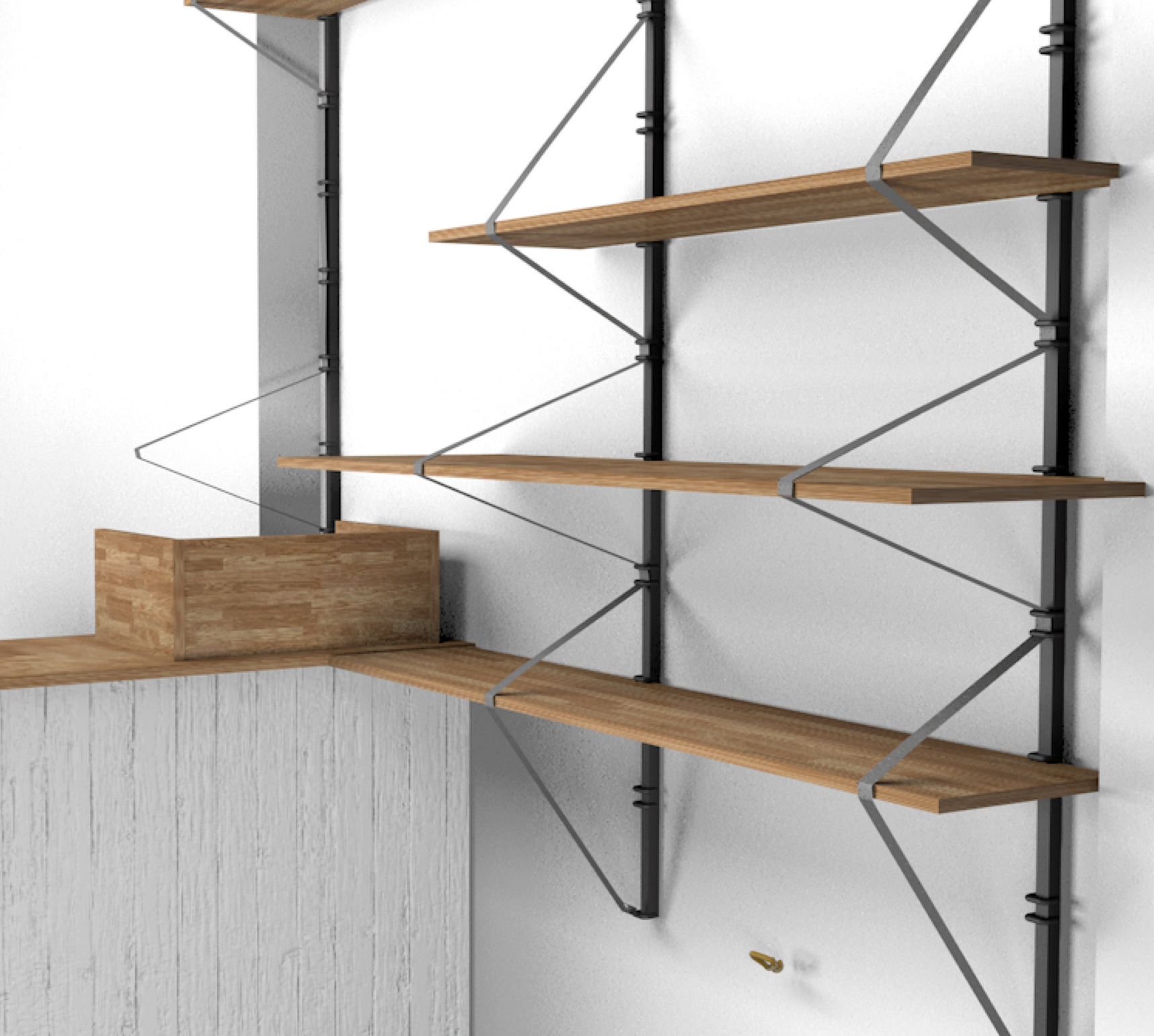 C4D render of ratchet strap shelves